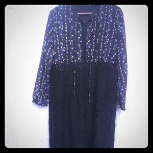 eShakti black lace and chiffon dress NWT